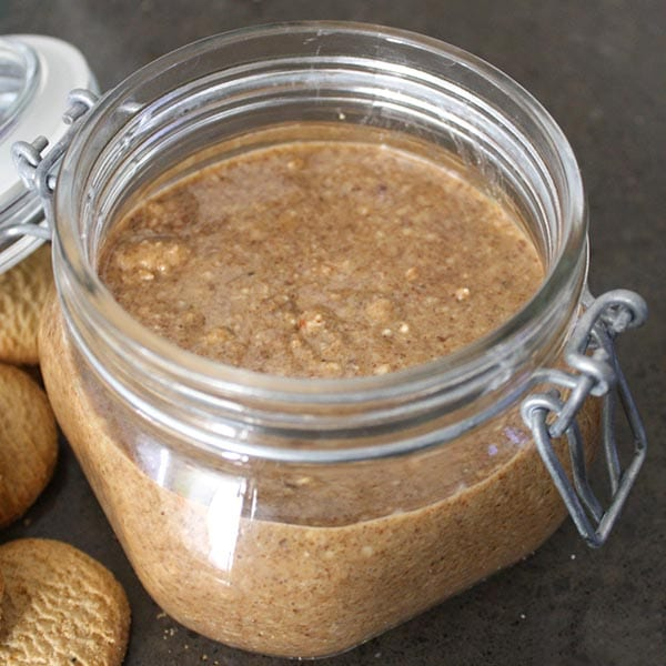 almond cookie butter in an open jar