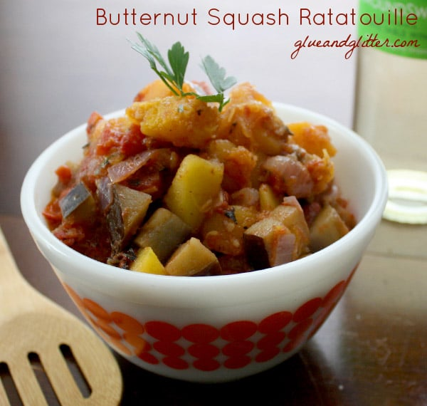 Butternut Squash Ratatouille with Chimichurri Baked Tofu