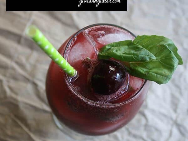 Fruity, herbal, boozy cherry basil shrub.