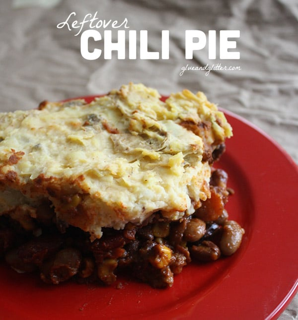 This chili pie was the perfect way to use up a whole bunch of leftover chili. It's a quick, easy recipe to repurpose leftovers.