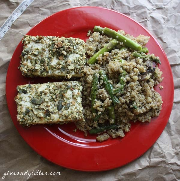 Baked, pumpkin crusted tofu makes a nice holiday dish or weeknight meal. It's one of those easy dishes that doesn't look like it was easy to make.