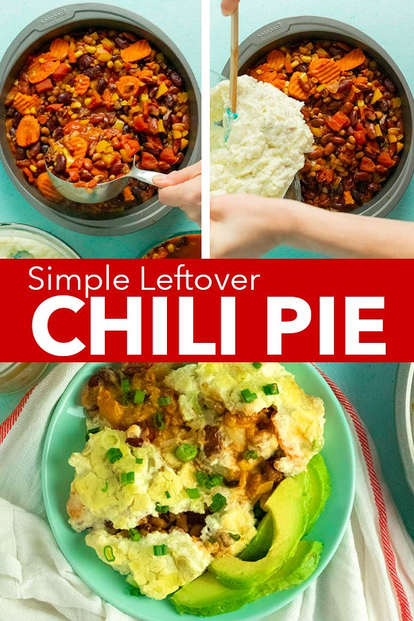 chili pie image collage