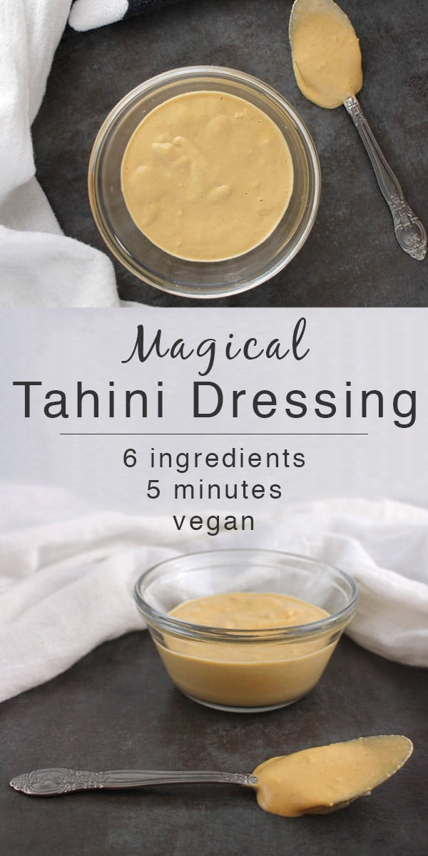 image collage of magical tahini dressing in a bowl from different angles