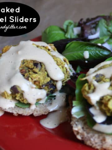 falafel sliders on mini buns with tahini dressing, salad on the side, and text overlay