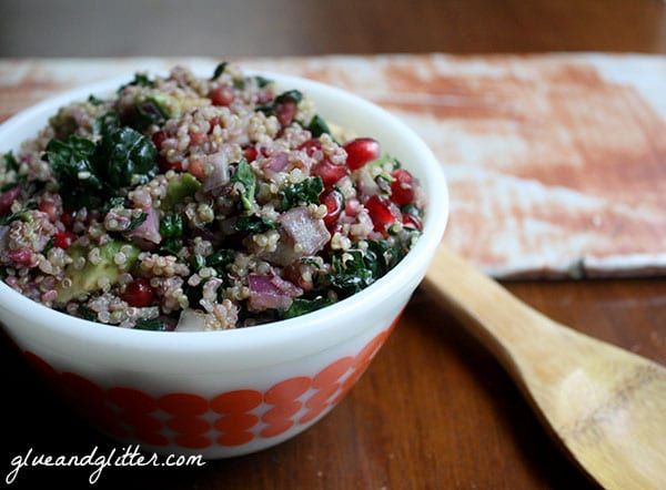This is an oil free version of the superfood kale and quinoa salad from my latest cookbook.