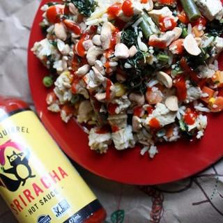 Easy Fried Rice Recipe + Ninja Squirrel Sriracha Sauce Review