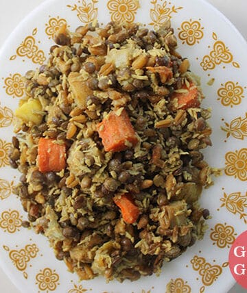 curried lentils and rice with vegetables