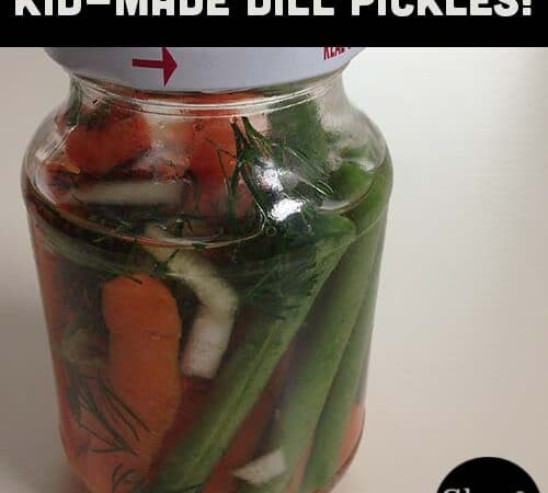 A close up of a bottle of carrot, green bean, and onion dill pickles with text overlay