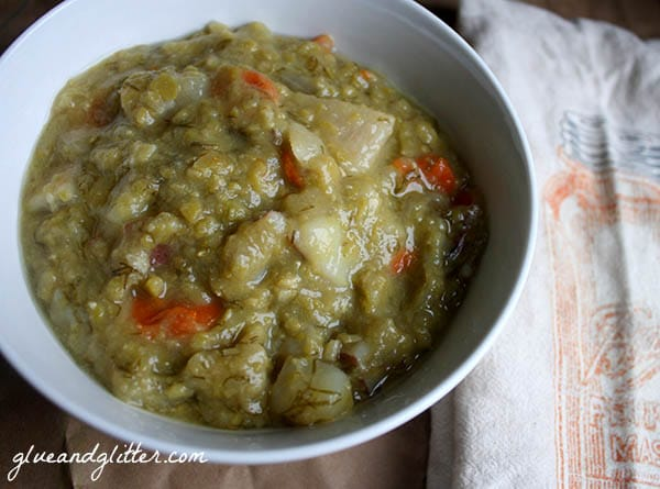 Slow cooker split pea soup is a perfect, cozy dish on a busy evening.