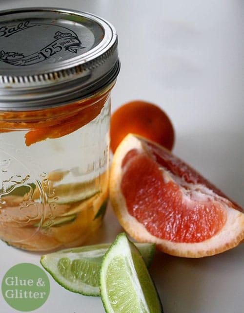 citrus gin steeping in a small mason jar