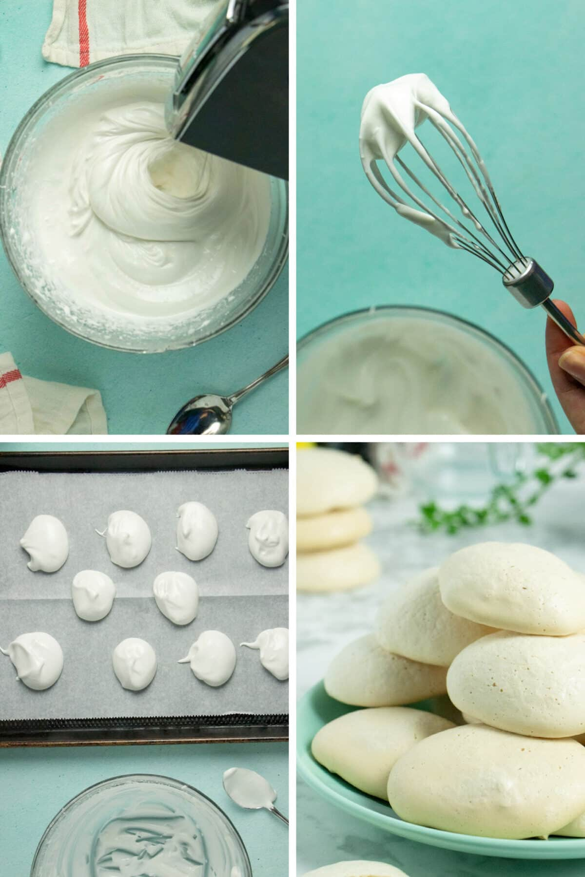image collage of whipping aquafaba, soft peaks on a beater, uncooked meringues on a baking sheet, and baked meringues on a plate