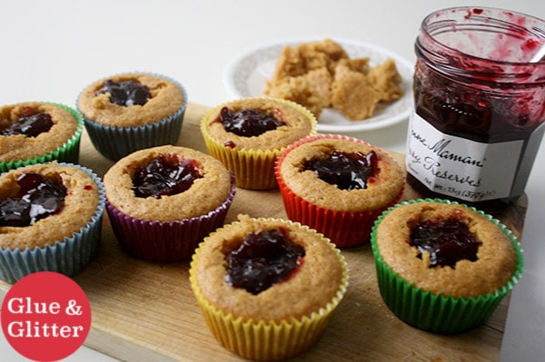 unfrosted cupcakes, filled with cherry preserves