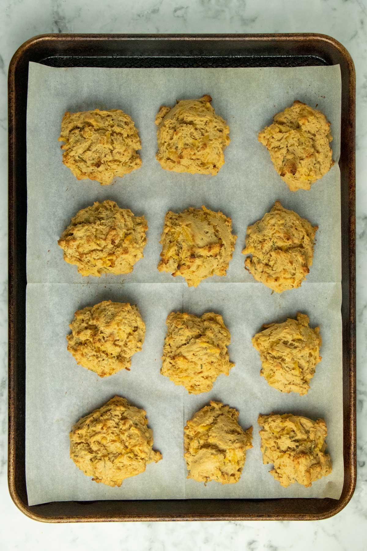 vegan drop biscuits on a baking sheet
