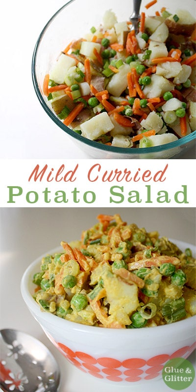 Mild Curried Potato Salad for All of the Picnics! The weather is warming up, and I've got picnics and summery food on the brain! This is a spiced twist on a plain ol' potato salad. Mild curry spices add just a little bit of heat to this curried potato salad and make it extra special.