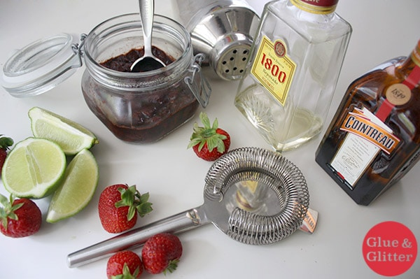 Balsamic Strawberry Margarita Recipe - This strawberry margarita uses strawberry preserves instead of cloyingly sweet simple syrup. It's lower in sugar than traditional strawberry margaritas but just as tasty!
