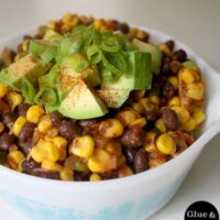 Bean and corn salad makes a surprisingly filling summer supper. You can also serve it as a side dish alongside your favorite veggie burger.