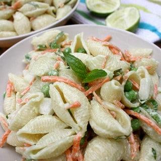 Easy Vegan Pasta Salad with Avocado Lime-Basil Aioli