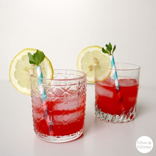 Sweet, seasonal red plums color this hot pink hard lemonade naturally. No added sugar required! Perfect with some mint from the garden!