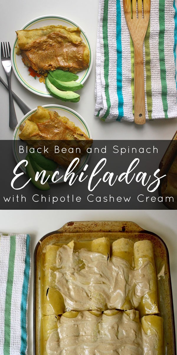 vegan enchiladas on plates next with the baking pan in the background, text overlay