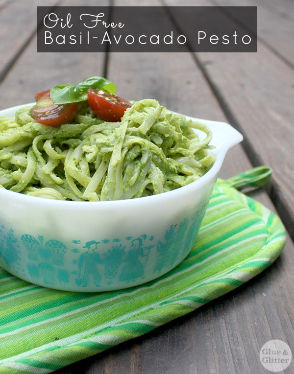 "turquoise bowl of pasta with avocado pesto. text reads: ""Oil Free Basil Avocado Pesto"""