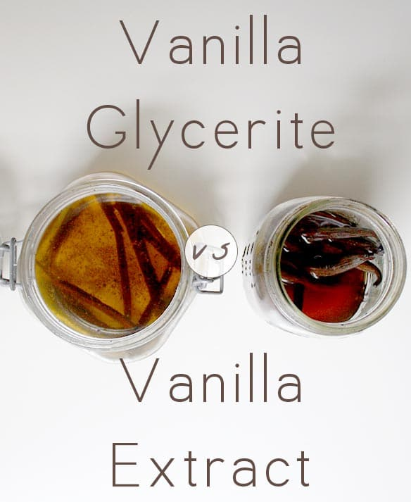 side-by-side photo of a jar of vanilla glycerite and of vanilla extract