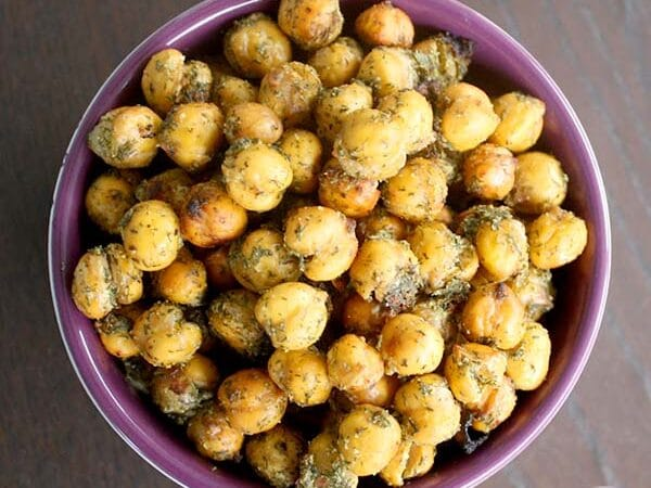Homemade ranch seasoning is the secret to these flavorful, vegan oven-roasted chickpeas.
