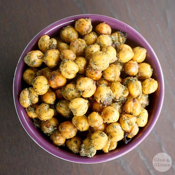 Homemade ranch seasoning is the secret to these flavorful, vegan ranch roasted chickpeas.