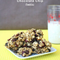 These easy oatmeal chocolate chip cookies only have 4 ingredients!