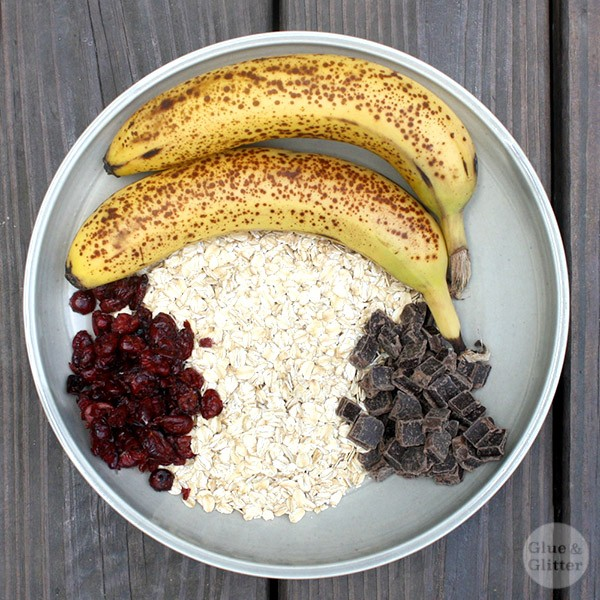 bowl of uncooked oats, dried cranberries,  chocolate chips, and two bananas on a wooden table