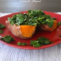 This loaded sweet potato stuffed with deeply-seasoned curried greens is one of my favorite quick, fall lunch recipes.