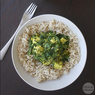 Mild Saag Tofu with Baby Kale (or whatever greens you want!)