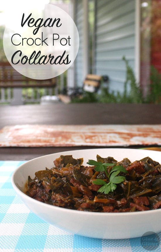 These easy, vegan crock pot collard greens will rock your socks!