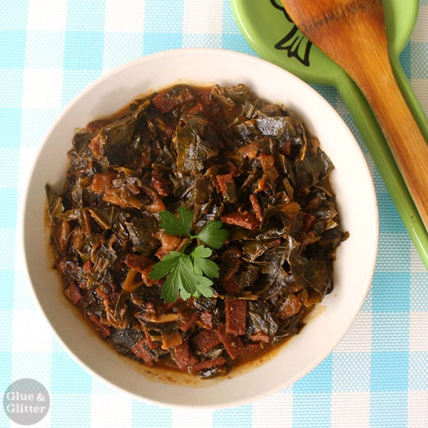 Tender crock pot collard greens are as smoky and rich as their traditional cousins without any animal products.