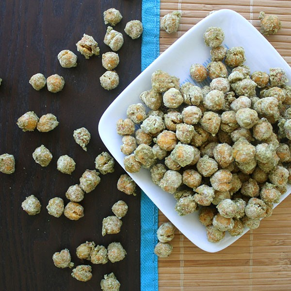 Spicy, salty, and slightly sweet wasabi roasted chickpeas are a great snack or salad topper!