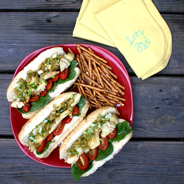 Artichoke muffaletta po' boys from Cook the Pantry by Robin Robertson.