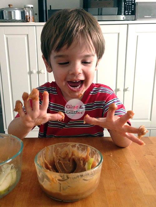 Darrol loves peanut butter dip!