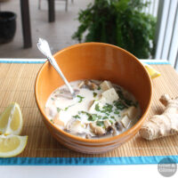 A pot of lemony coconut gingersoup comes together in about 30 minutes.It works well as an appetizer or a main dish.