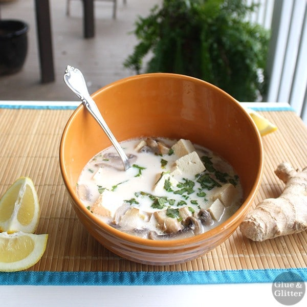 A pot of lemony coconut ginger soup comes together in about 30 minutes. It works well as an appetizer or a main dish.