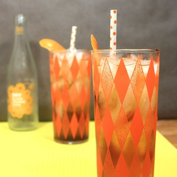 This orange sparkling black Russian has only four ingredients!