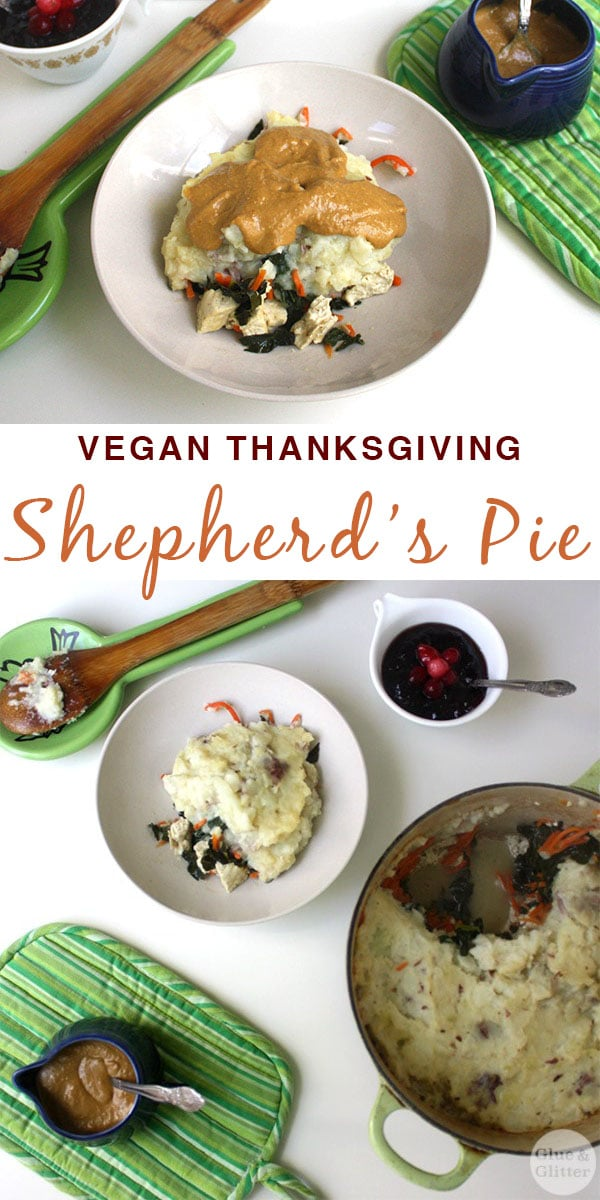 image collage of vegan shepherd\'s pie from different angles with a text overlay