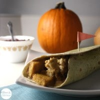 Vegan Thanksgiving wraps stuffed with flavorful baked tofu, homemade cranberry cream cheese, sage stuffing, and plenty of gravy.