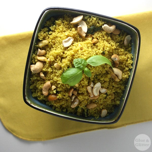 Holy crap, guys, this basil curried couscous recipe took less than 15 minutes to make, and was so good!