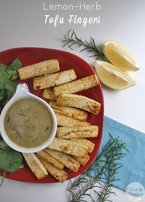 Lemon-herb tofu is a lovely finger food for your next party or tasty on top of a grain, mashed potato, or salad bowl.