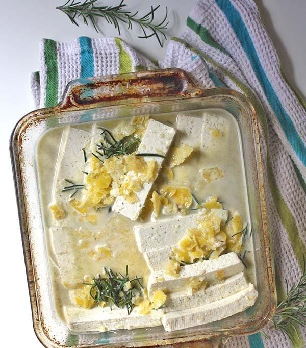 Lemon-Herb Tofu, ready to bake!