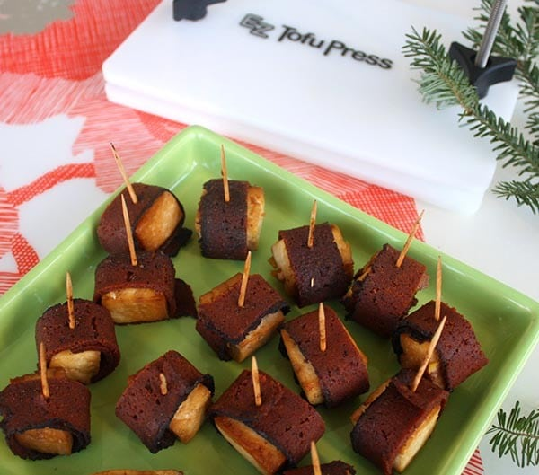 Sweet-and-savory bacon-wrapped tofu makes fun party finger food!