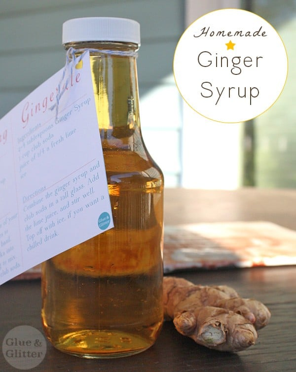 Make homemade ginger syrup for the holidays! If you're giving it as a gift, grab a free printable recipe card to go with.