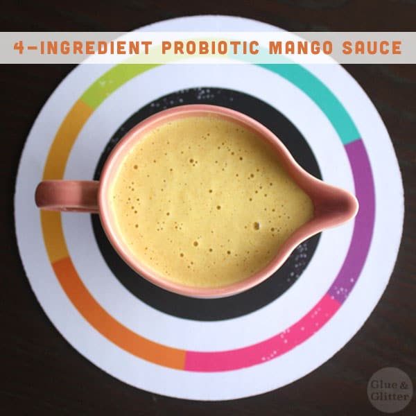 This probiotic mango sauce has only four ingredients, and you make it in the blender! No cooking required at all.