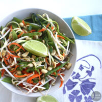 Fresh raw pad Thai in a citrusy, gingered peanut sauce is easy to make and as good as its restaurant counterparts.