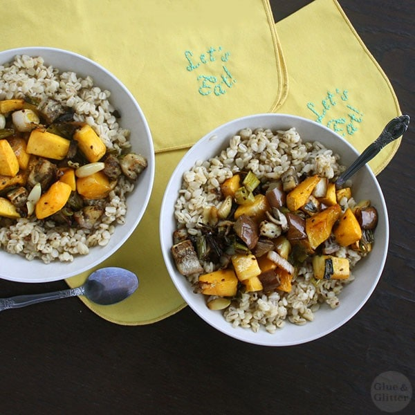 Hearty, easy roasted vegetables on a bed of nutty barley is a great cold-weather supper.