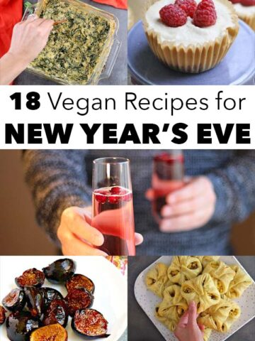 image collage of vegan new year's eve recipes